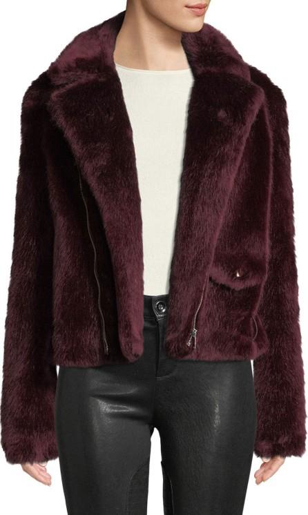 Alexis Shrua Zip-Front Belted Faux-Fur Jacket