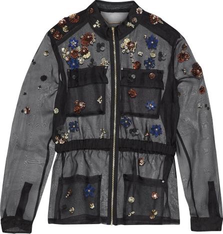 Elie Tahari Katya embellished silk-organza jacket