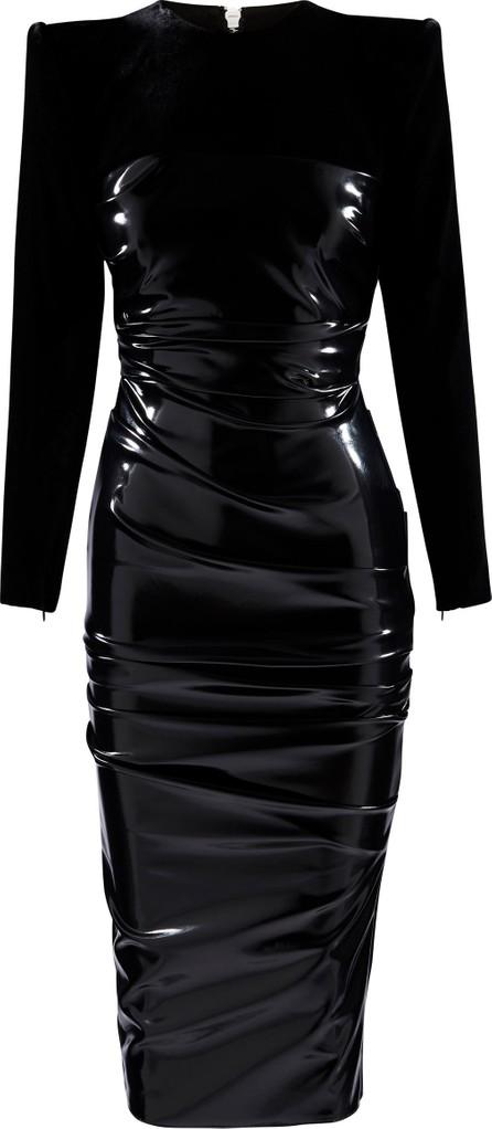 Alex Perry Hart Ruched Jersey-Paneled Vinyl Midi Dress