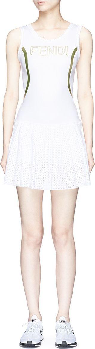 Fendi Logo print mesh panel performance dress