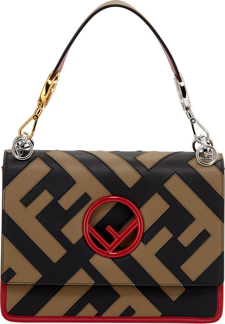 Fendi Kan I F Logo Leather Shoulder Bag