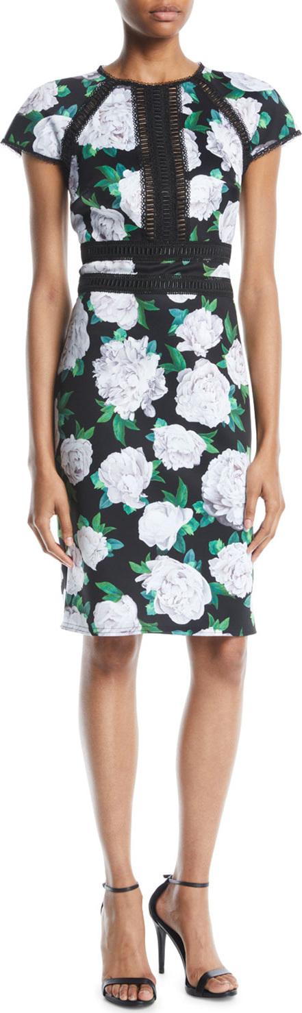 Tadashi Shoji Cap-Sleeve Floral Sheath Dress w/ Lace Insert at Front