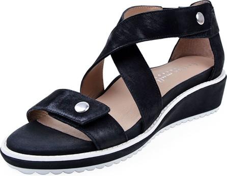 Bettye Muller Tobi Leather Demi-Wedge Sandals, Black