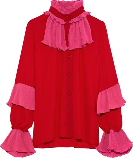 Anna Sui Two-tone plissé and crepe de chine shirt