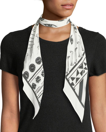 Rockins Eye-Print Super Skinny Silk Scarf, Ivory