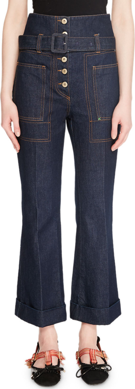 Carven Belted High-Rise Flare-Leg Denim Trousers