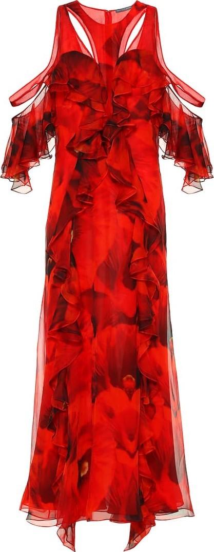 Alexander McQueen Printed silk crêpe maxi dress