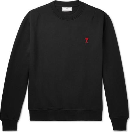 AMI Logo-Appliquéd Loopback Cotton-Jersey Sweatshirt