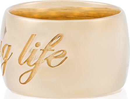 Established 14kt gold Thug Life ring