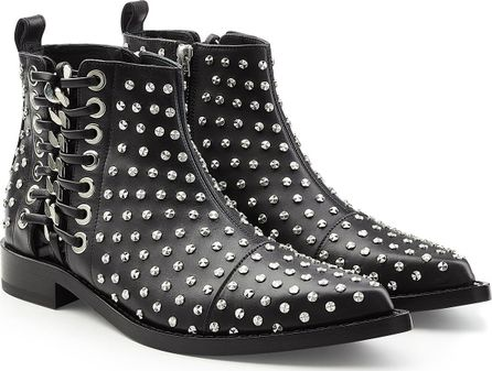 Alexander McQueen Embellished Leather Ankle Boots with Lace-Up Side