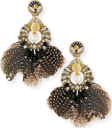 Ranjana Khan Carambola Feather Clip-On Earrings
