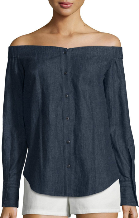 Rag & Bone Kacy Reversible Chambray Off-the-Shoulder Tunic, Indigo