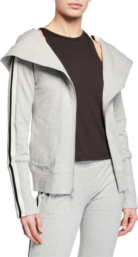 Norma Kamali Zip-Hood Side Stripe Hoodie Sweatshirt