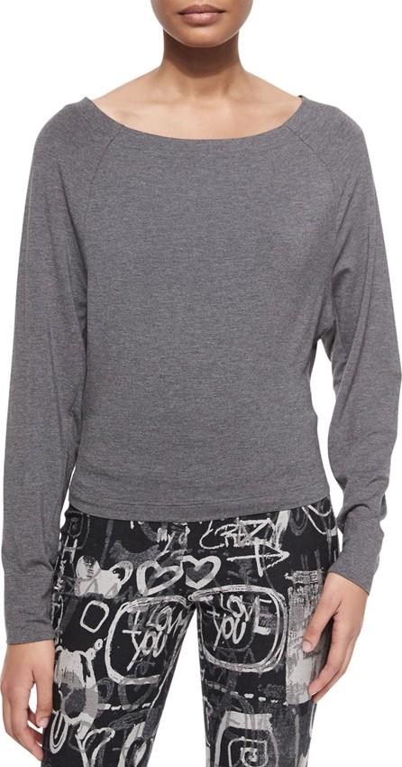 Donna Karan Bateau-Neck Long-Sleeve Top, Flannel