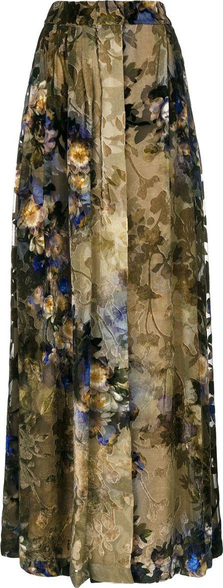 Alberta Ferretti pleated floral maxi skirt