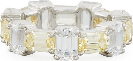 Fantasia by DeSerio Alternating Emerald-Cut CZ Band Ring