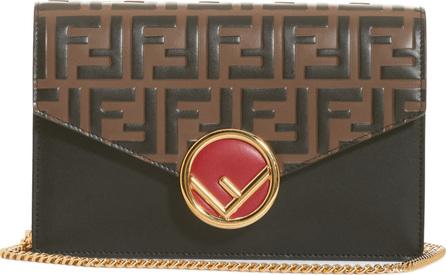 Fendi Liberty Logo Leather Wallet on a Chain