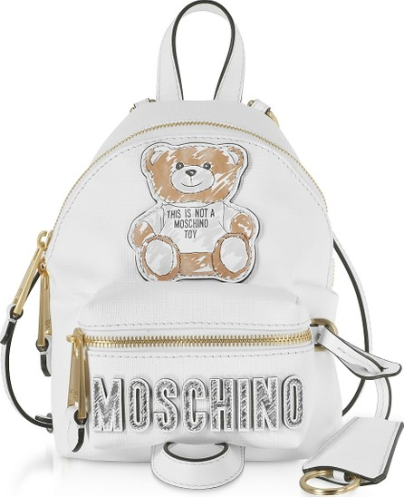 Moschino White Teddy Bear Brushstroke Signature Mini Backpack