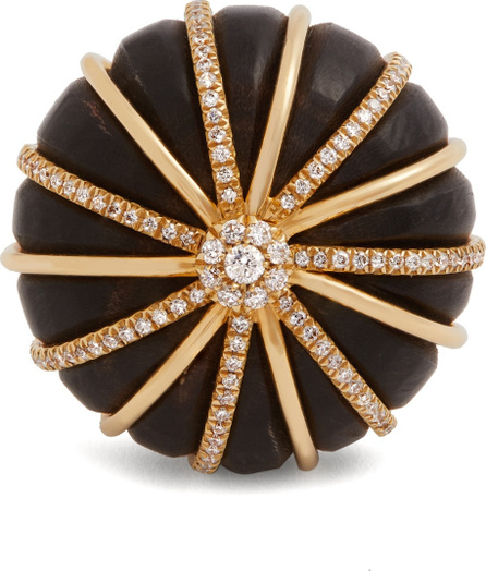 Francesca Villa Diamond, black horn & yellow-gold Balloon ring