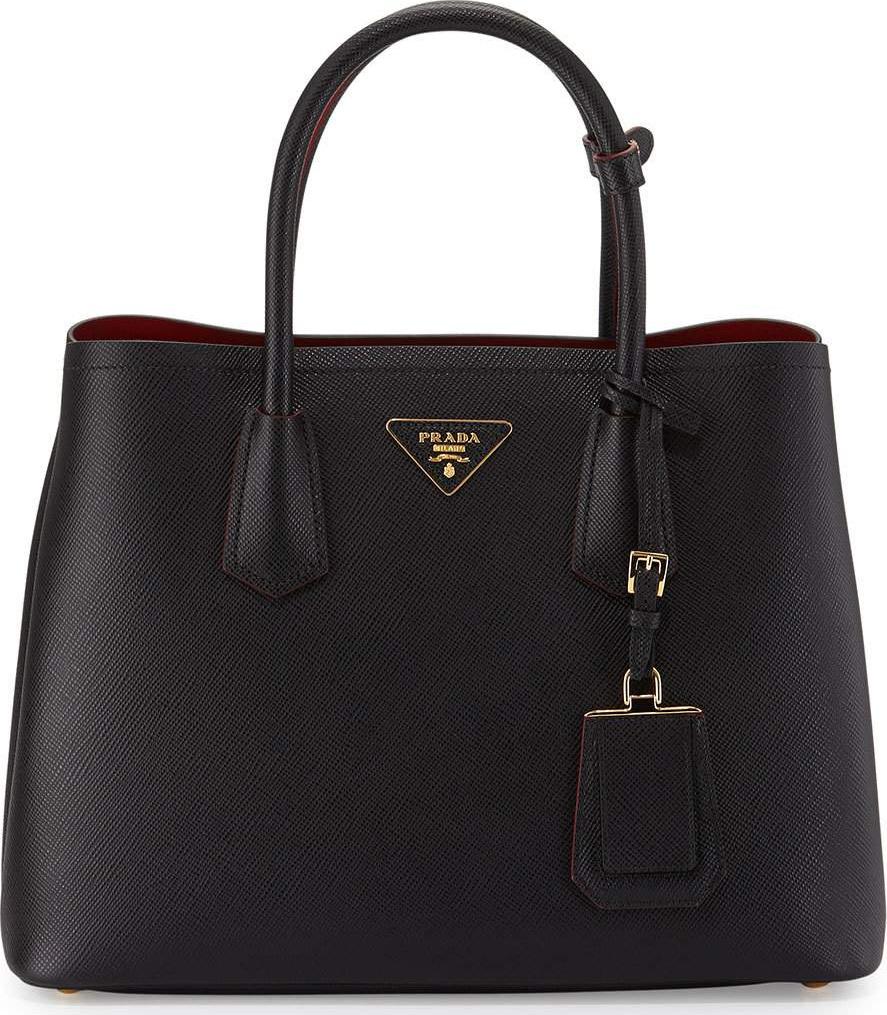 ... canada prada saffiano cuir double medium tote bag black red nerofuoco  b11b8 ed82b b010223e5240f