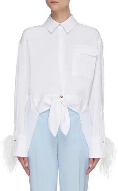 Hellessy 'Tatiana' feather trimmed cuff cotton blend shirt