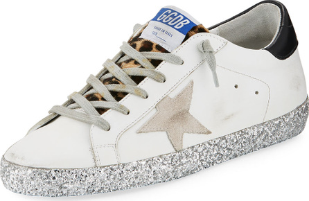Golden Goose Deluxe Brand Superstar Leopard Detail Sneakers with Glitter Sole