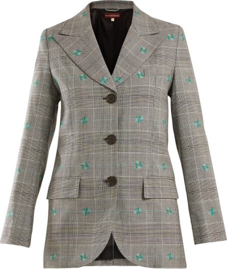 Alexachung Flower-embroidered Prince of Wales-checked blazer