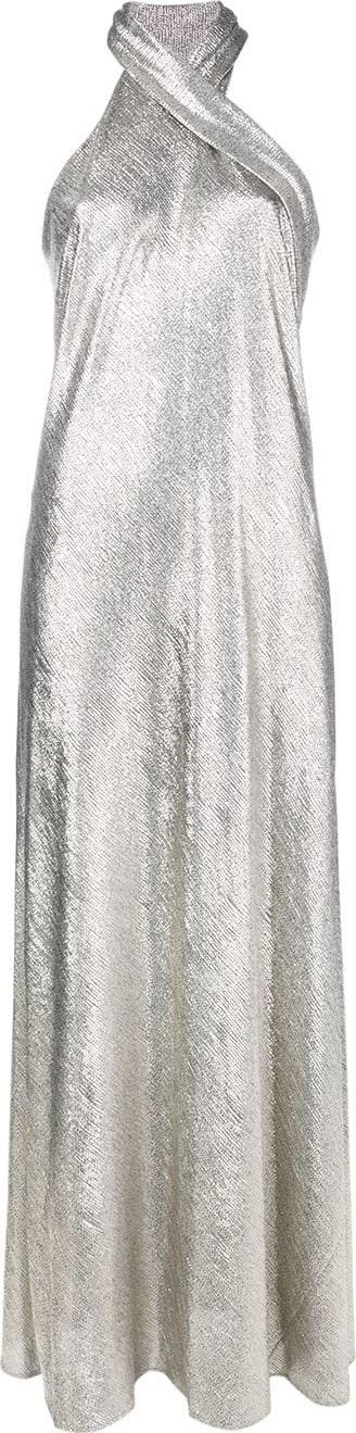 Galvan Pandora halterneck metallic gown