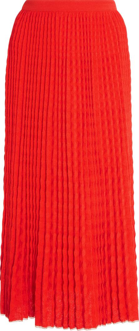 Victoria Beckham Chevron Plisse Wool Midi Skirt