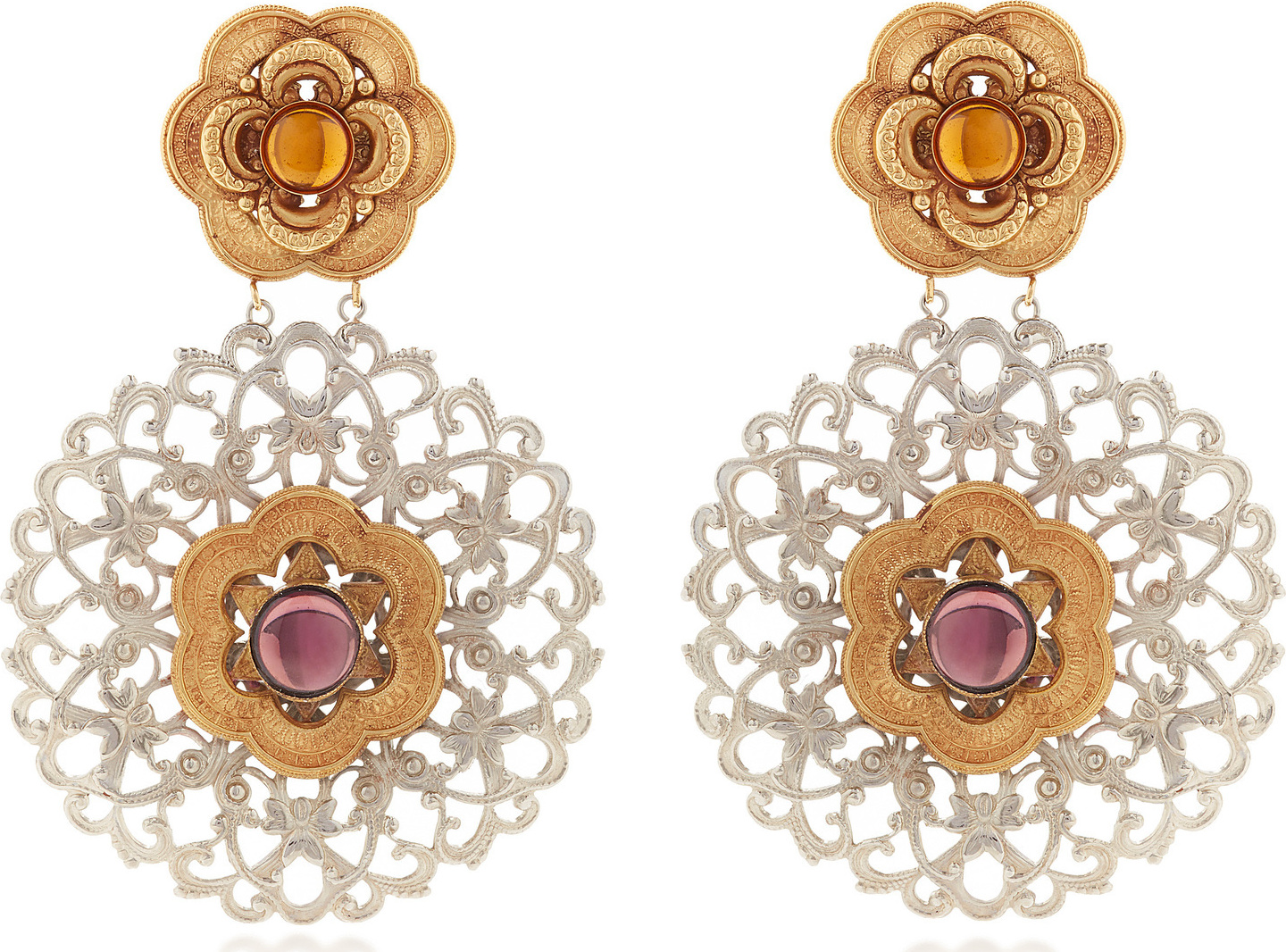 Rodarte Nickel Baroque Earrings With Ambet And Amethyst Gl Cabochons