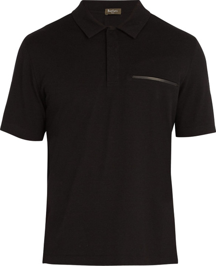 Berluti Contrast-trim cotton-blend polo shirt