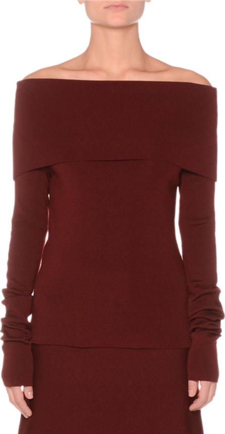 Agnona Off-the-Shoulder Extra Fine Merino Knit Sweater
