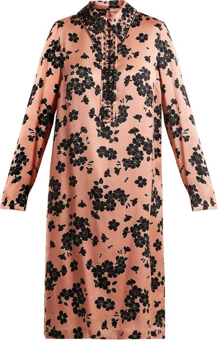ROCHAS Point-collar floral-print silk dress