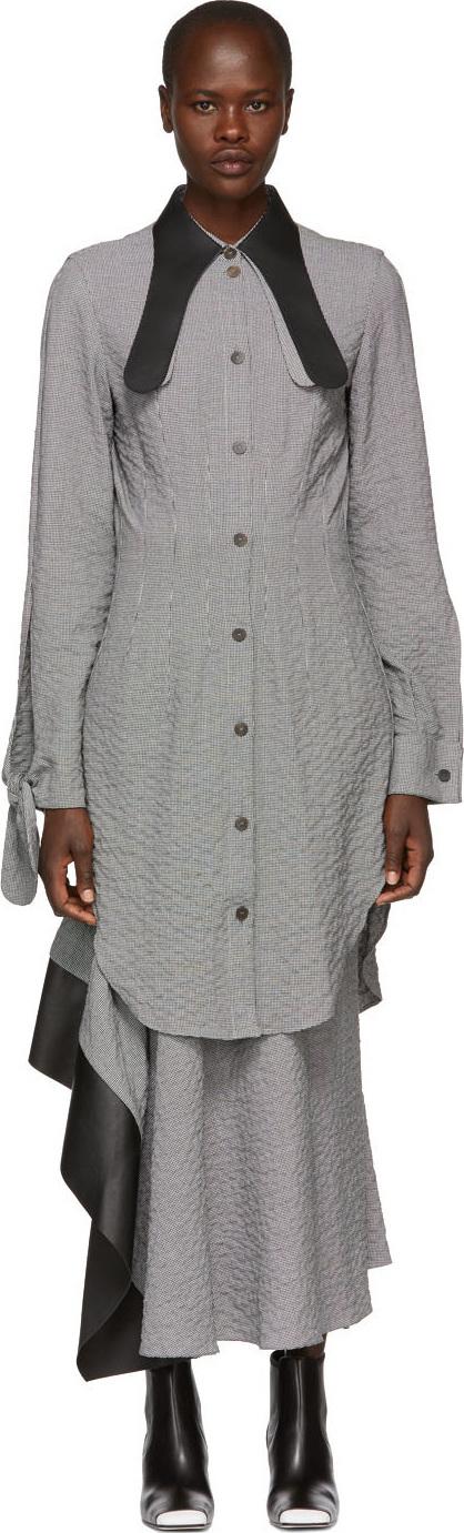 LOEWE Black & White Leather Collar Shirt Dress