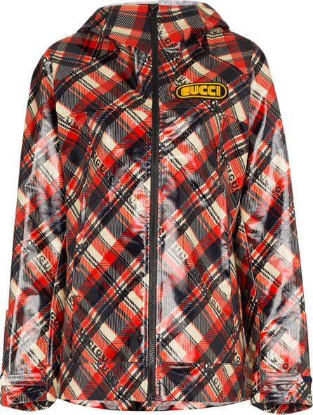 Gucci Logo tartan coated cotton windbreaker