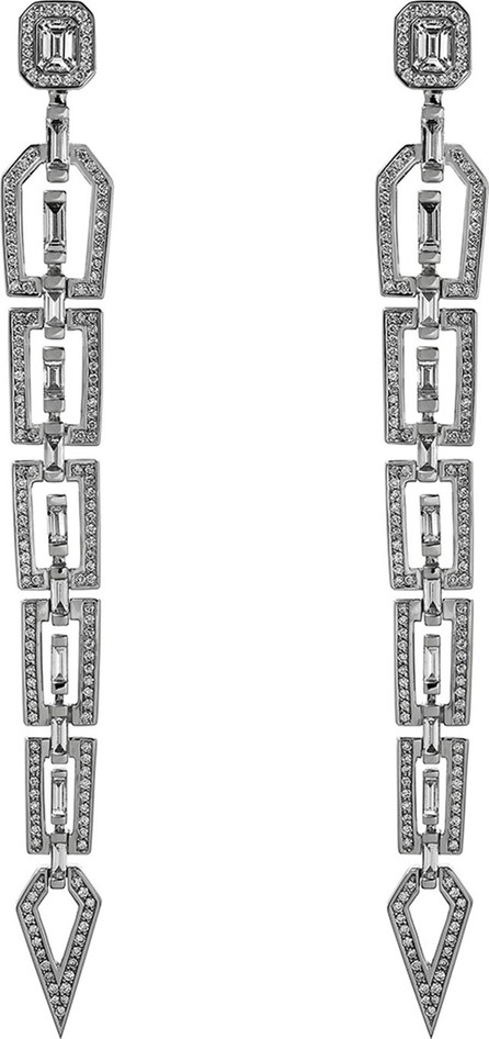 Nikos Koulis V 18k White Gold Diamond Dangle Earrings