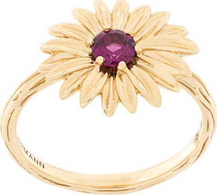 Aurelie Bidermann 18kt yellow gold garnet flower ring