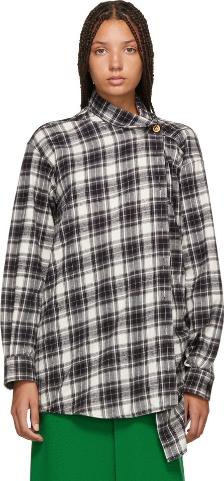 Balenciaga Black & White Check Pulled Shirt