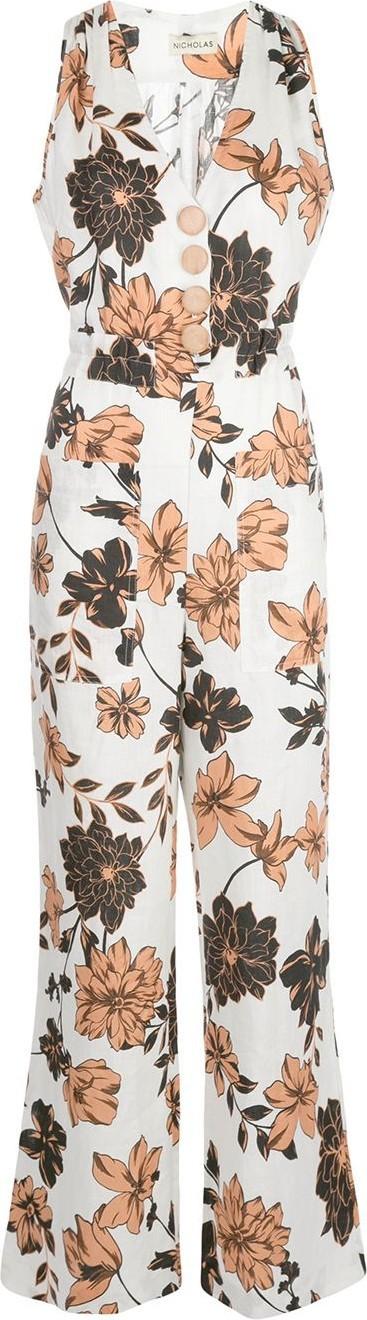 NICHOLAS Floral print flared jumpsuit