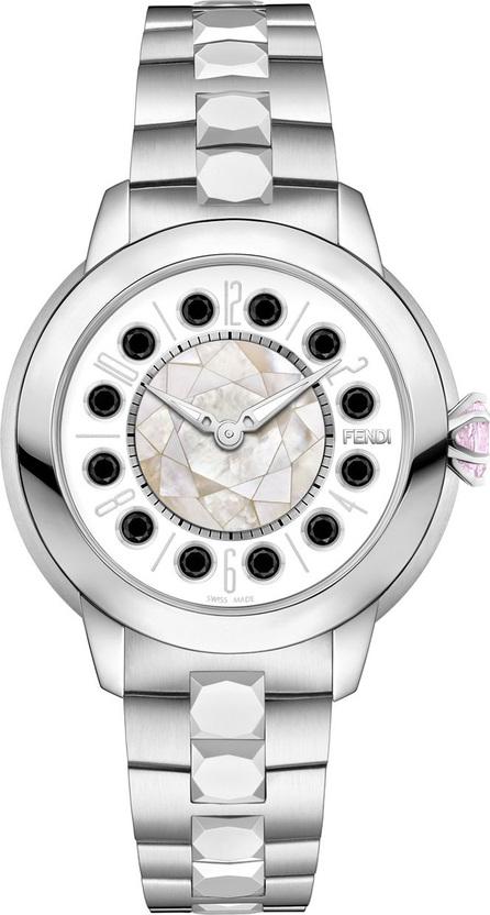Fendi 33mm IShine Stainless Steel Bracelet Watch w/Pink Topaz & Black Spinel