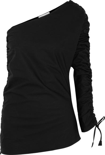 Barbara Casasola Ruched asymmetric cotton-gabardine top