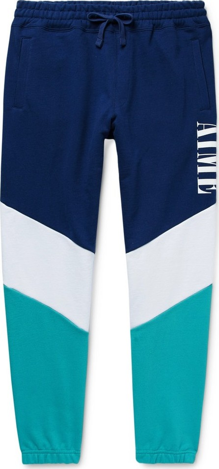 Aimé Leon Dore Tapered Logo-Print Colour-Block Loopback Cotton-Jersey Sweatpants