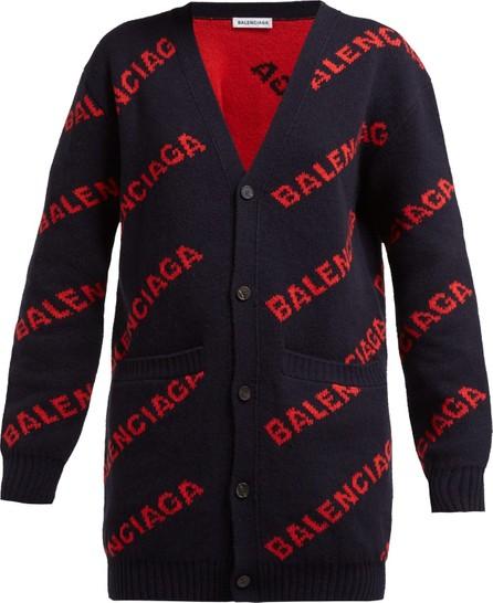 Balenciaga Logo-jacquard wool-blend cardigan