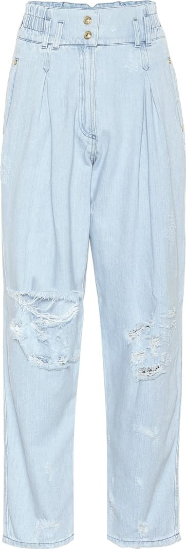 Balmain High-rise wide-leg jeans