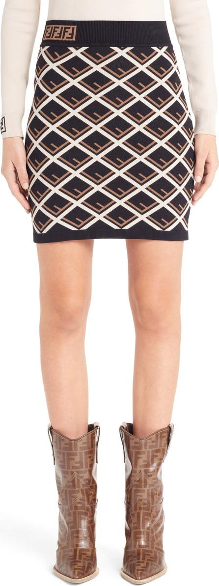 Fendi Logo Pattern Knit Skirt