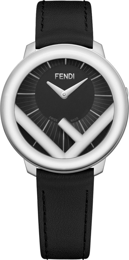 Fendi 36mm Run Away Watch with Leather Strap, Black/Steel