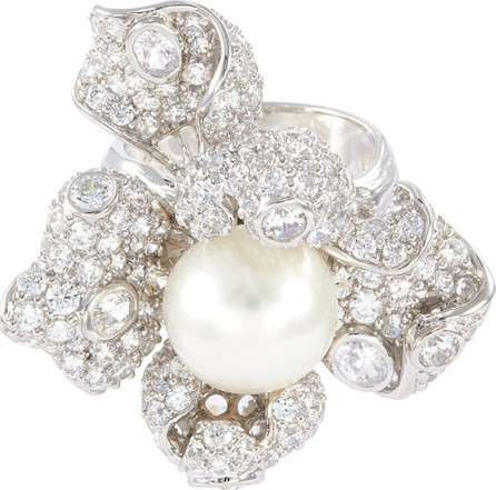 Anabela Chan 'Mini Blossom' diamond freshwater pearl floral ring