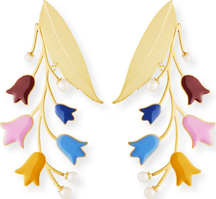 Tory Burch Bell Flower Statement Earrings with Pearls