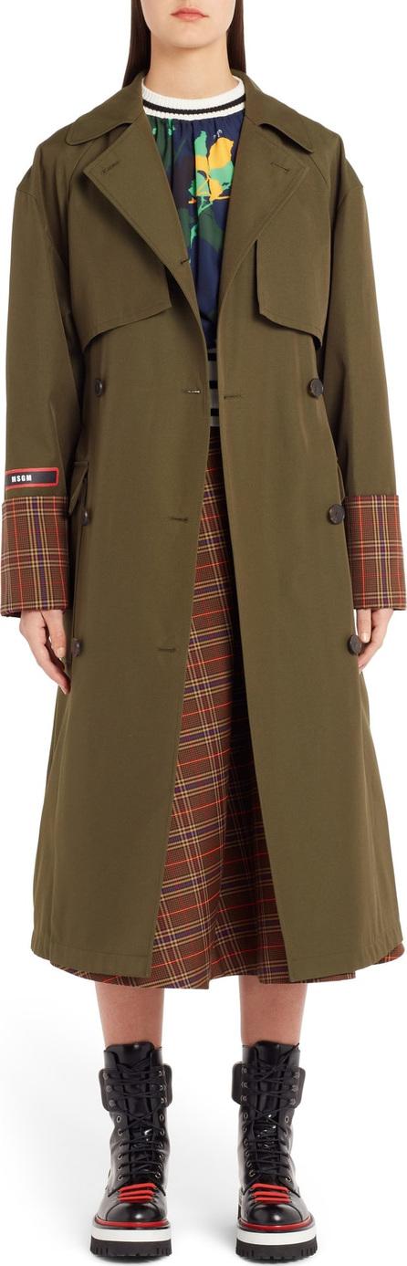 MSGM Tartan Detail Trench Coat