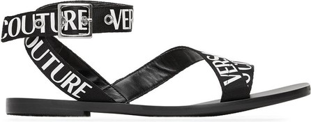 Versace Jeans Couture Black Cross Strap Sandals